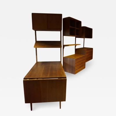 Poul Cadovius Gorgeous Three Bay Teak Cado Wall Unit Desk Danish Mid Century