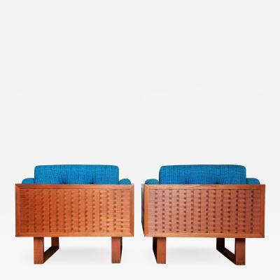 Poul Cadovius Poul Cadovius Lounge Chairs Basket Weave Pair 1962