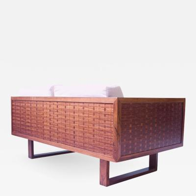 Poul Cadovius Vintage Signed Poul Cadovius Basketweave Settees in Rosewood and Cotton 1960s