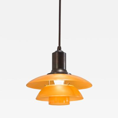 Poul Henningsen Danish Amber Glass and Patinated Copper PH 2 Pendant Light
