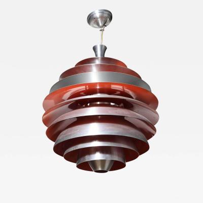 Poul Henningsen Poul Henningsen for Louis Poulsen Aluminum Red Orange Louvre Pendant