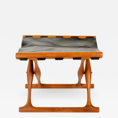 Poul Hundevad Leather Folding Stool by Poul Hundevad