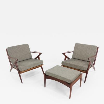 Poul Jensen Extraordinary Danish Modern Z Chairs Ottoman Designed by Poul Jensen