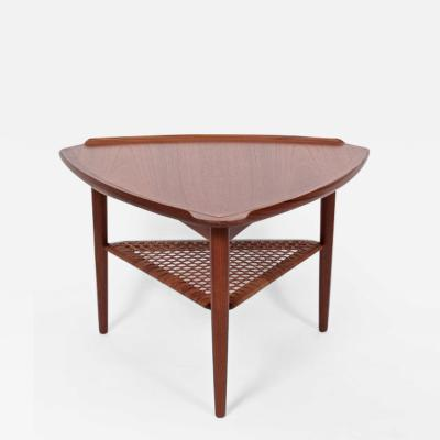 Poul Jensen Poul Jensen for Selig Walnut and Woven Rattan Tripod Table 1960s