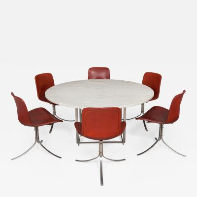 Poul Kj rholm Dining set Six PK 9 chairs and a PK 54 table with extension ring