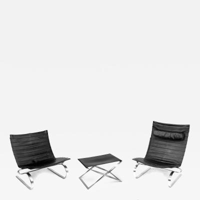 Poul Kjaerholm Kj rholm Set of PK20 Chairs and PK91 Footstool by Poul Kjaerholm