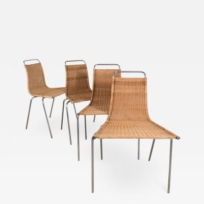 Poul Kjaerholm Set of 4 petite wicker chairs by Poul Kjaerholm model PK1
