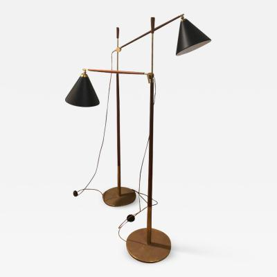 Povl Dinesen Povl Dinesen Brass and Teak Floor Lamps sold individually