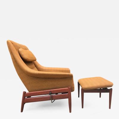 Povl Dinesen Povl Dinesen Danish Modern Lounge Chair and Ottoman