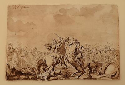 Powerful 17th Century Italian School Ink Drawing Of A Battle