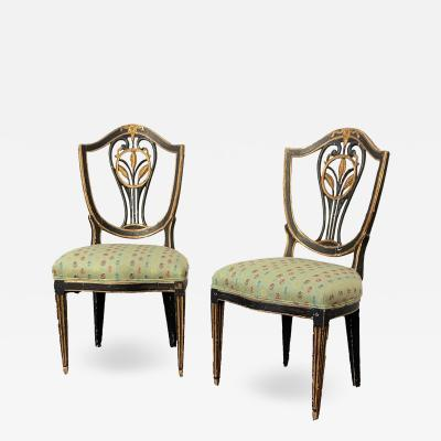 Pr Of Early 19th Century Neoclassical European Shield Back Side Chairs a Pair