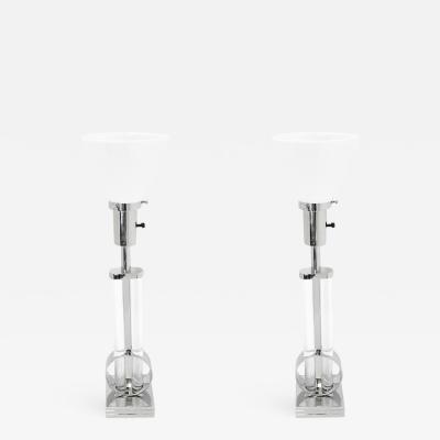 Pr Streamline Art Deco Nickel Glass Table Lamps by Gilbert Rohde