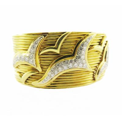 Prashnik Diamond Segull Gold Bangle