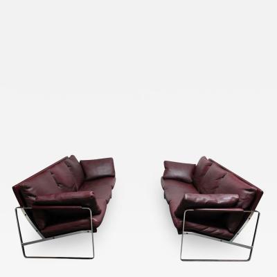 Preben Fabricius Cordovan Leather and Chrome Steel Sofa by Preben Fabricius for Walter Knoll