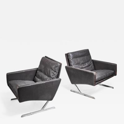 Preben Fabricius Preben Fabricius Pair of BO 701 Chairs in Dark Brown Leather Germany 1970