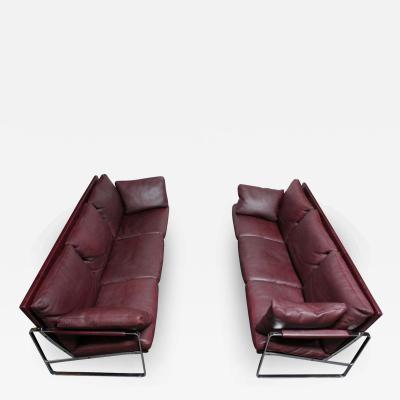 Preben Fabricius Preben Fabricius for Walter Knoll Cordovan Leather and Chromed Steel Sofa