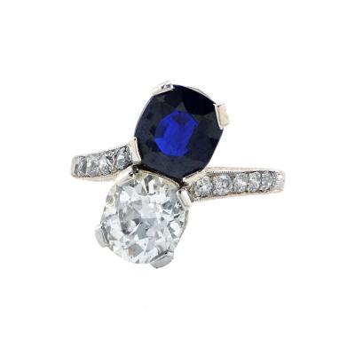 Precious Deco Diamond and Sapphire Ring V11141