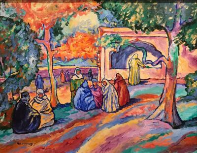 Pres de la Fontaine Tunis Oil on Canvas by Pat F Wilson