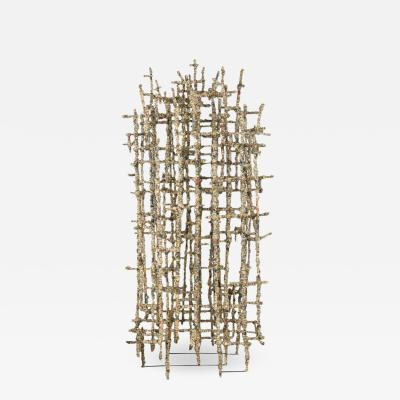 Primitive Cathedral lll Newsprint Wrapped Wire Sculpture by Matteo Naggi