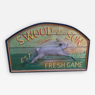 Primitive Wood Sign of Rabbit by S Wood Son