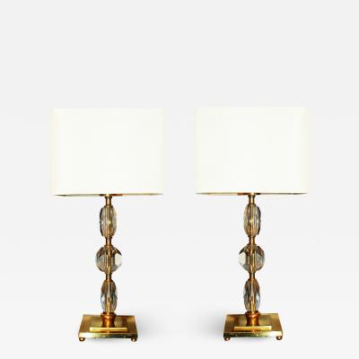 Prince De Galles Hotel Pair of 1930s Bronze and Crystal Lamps Paris