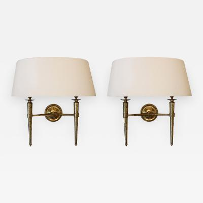 Prince de Galles Hotel Elegant Pair of Sconces Paris circa 1940