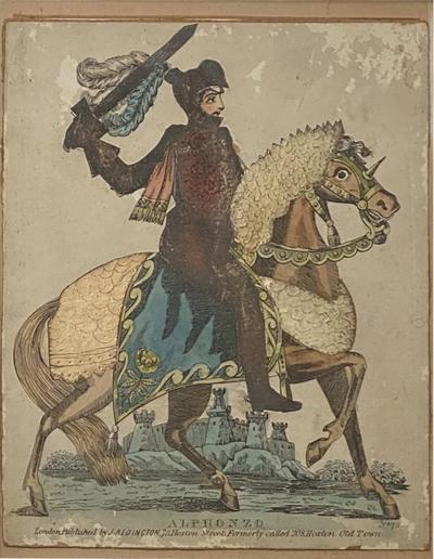 Print of Knight on a Horse England Circa Early 19th Century