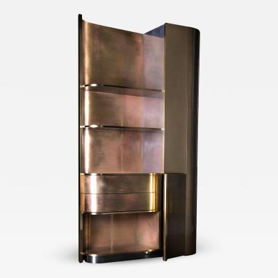 Privatiselectionem Hand Crafted Pink Patinated Tall Brass Cabinet