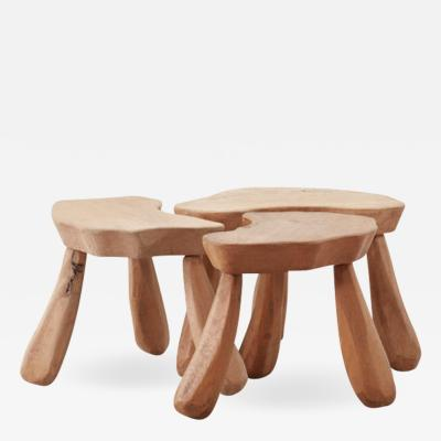 Provincial wooden stools tables France Late 20th Century
