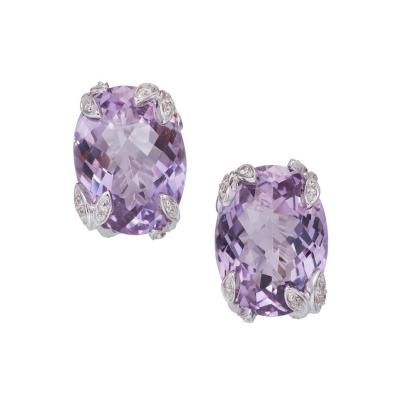 Purple Oval Amethyst Diamond Gold Earrings