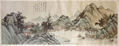 QiaoNian Zhou Framed Antique Chinese Landscape Ink Painting Zhou QiaoNian Qing Dynasty