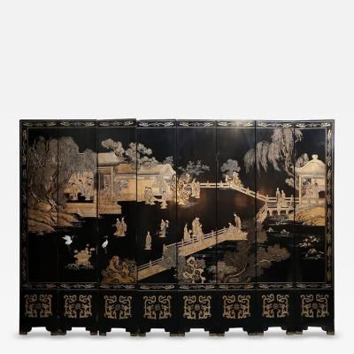 Qing Dynasty Eight Panel Reversible Chinese Coromandel Screen