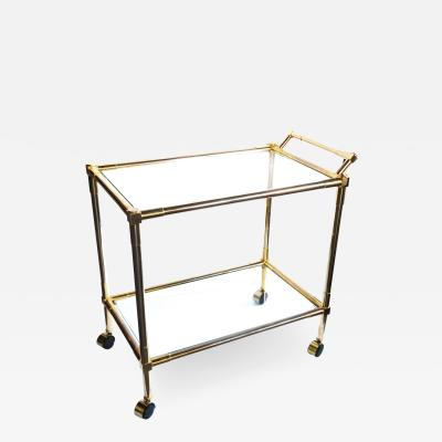 Quality Brass 1970s 2 tier Brass and Glass Bar Drinks Cart