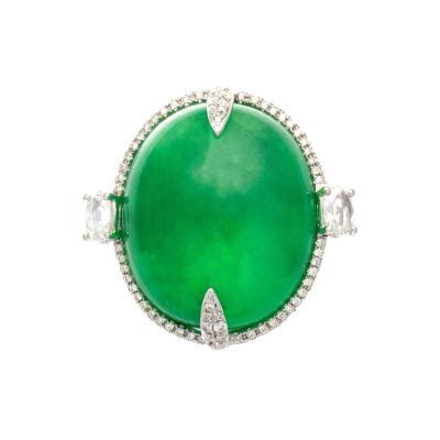 Quartz Diamond Platinum Ring