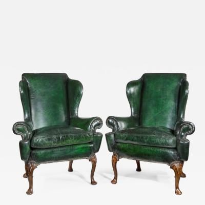 Queen Anne Style Walnut Wing Arm Chairs