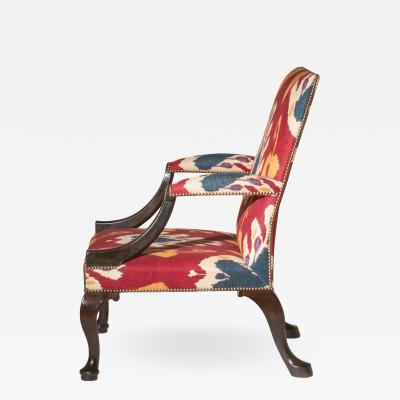 Queen Anne Walnut Armchair on Pad Feet in Ikat Textile