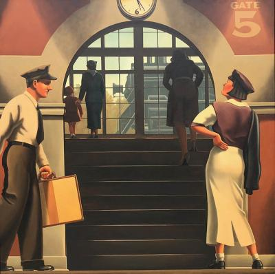 R Kenton Nelson Have Pity on the Easterner Train Station