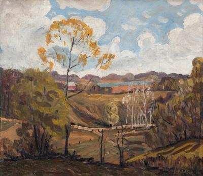 R Lawler American oil on canvas landscape