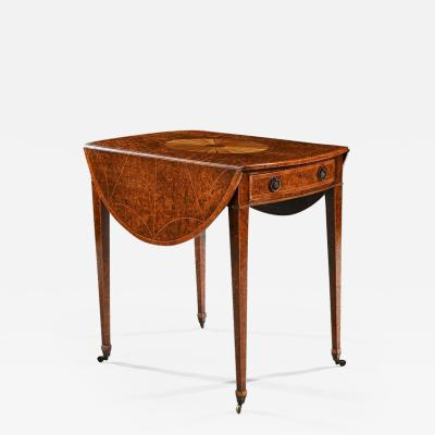 RARE 18TH CENTURY GEORGE III YEW WOOD INLAID OVAL PEMBROKE TABLE