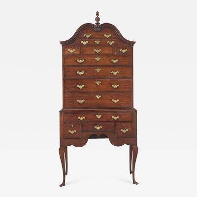 RARE AND UNUSUSAL QUEEN ANNE MAHOGANY HIGH CHEST OF DRAWERS