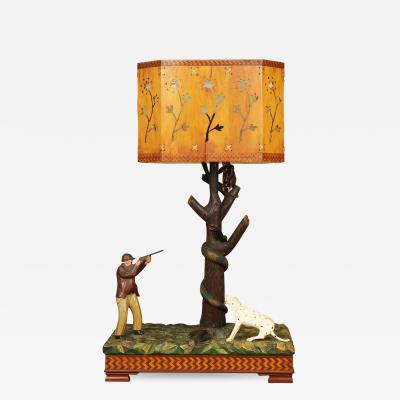 RARE CARVED FOLK ART LAMP