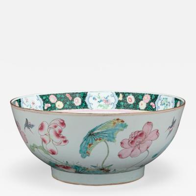 RARE CHINESE EXPORT PORCELAIN PUNCH BOWL