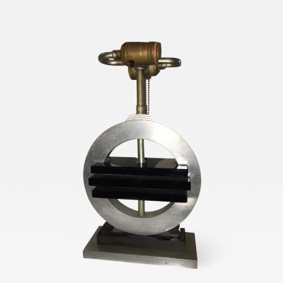 RARE MODERNIST ART DECO BLACK GLASS AND BAKELITE NICKELED BRONZE LAMP