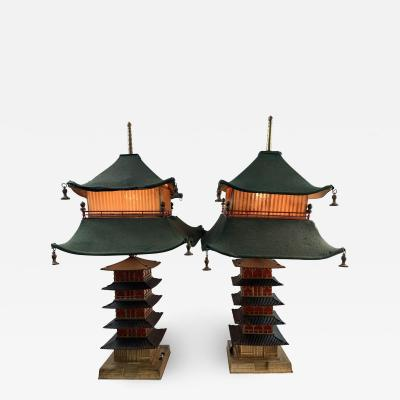 RARE PAIR OF ART DECO PAGODA LAMPS