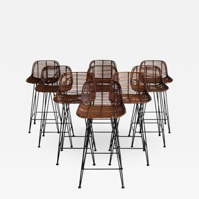 RATTAN AND IRON BARSTOOLS