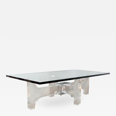 RECTANGULAR ILLUMINATED LUCITE AND CHROME COFFEE TABLE WITH GLASS TOP