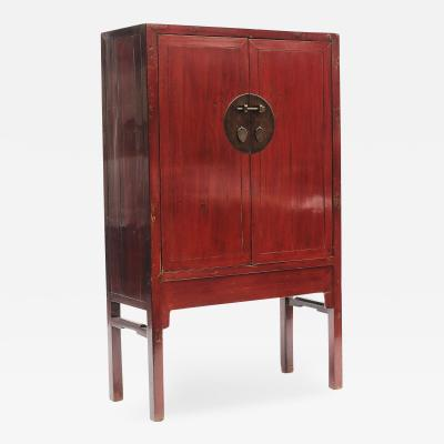 RED LACQUER CHINESE WEDDING CABINET FROM CHINAS FUJIAN PROVINCE 1860 1880