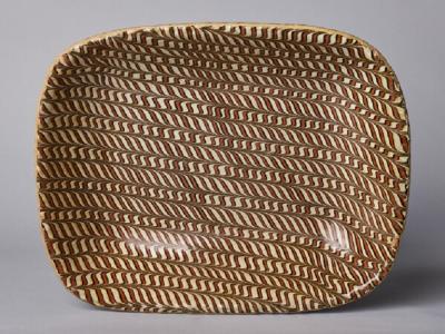 REDWARE SLIP DECORATED LOAF DISH