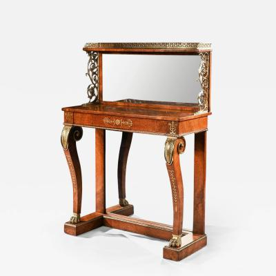 REGENCY AMBOYNA AND BRASS INLAID GILT BRONZE MOUNTED PIER TABLE