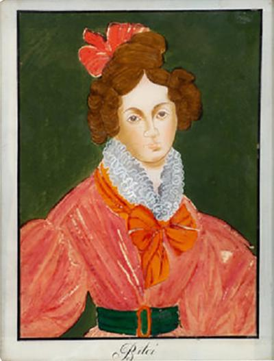 REVERSE PAINTING OF A WOMAN